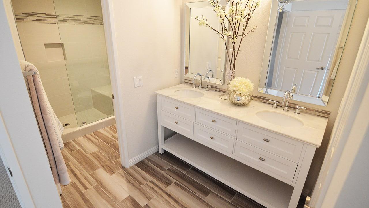 Glendora Contemporary Master Bathroom White Vanity Cabinet 1 Classic Kitchens Etc