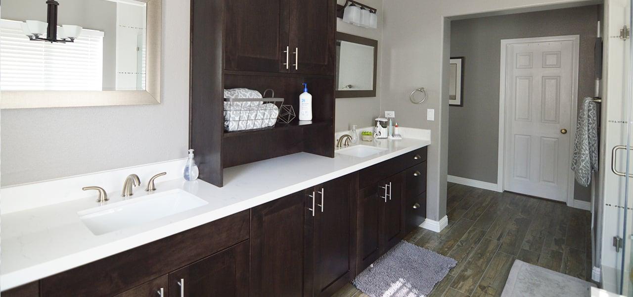 contemporary master bathroom remodel in corona ca