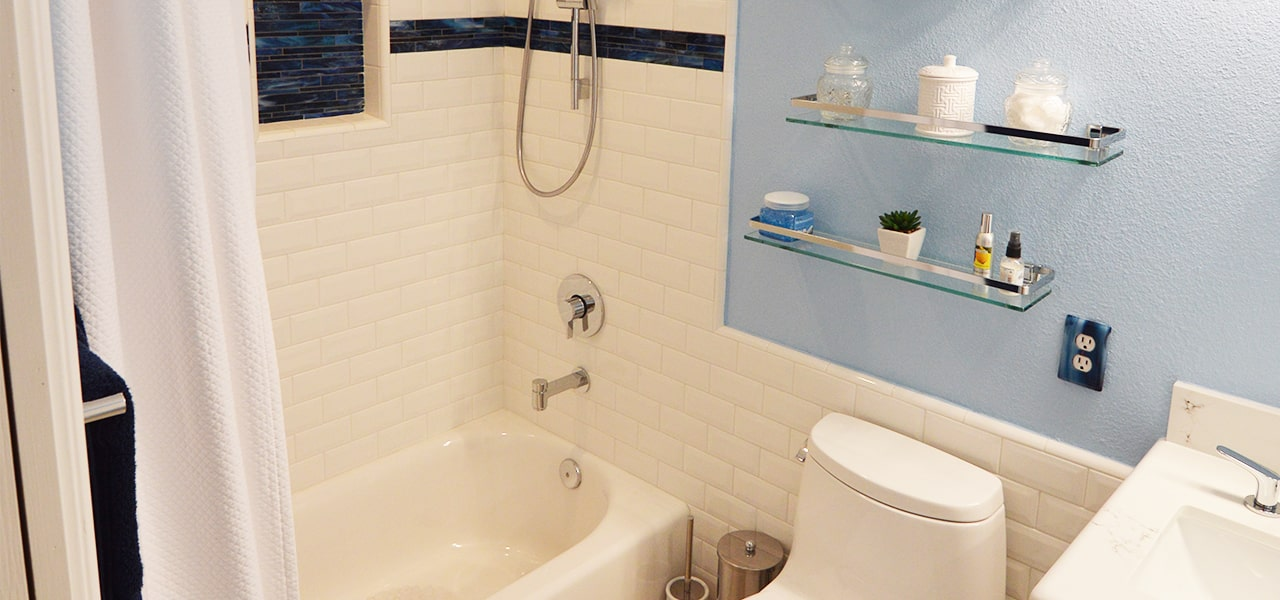 Transitional Guest Bathroom Remodel In Corona Ca - Bathroom remodel corona ca