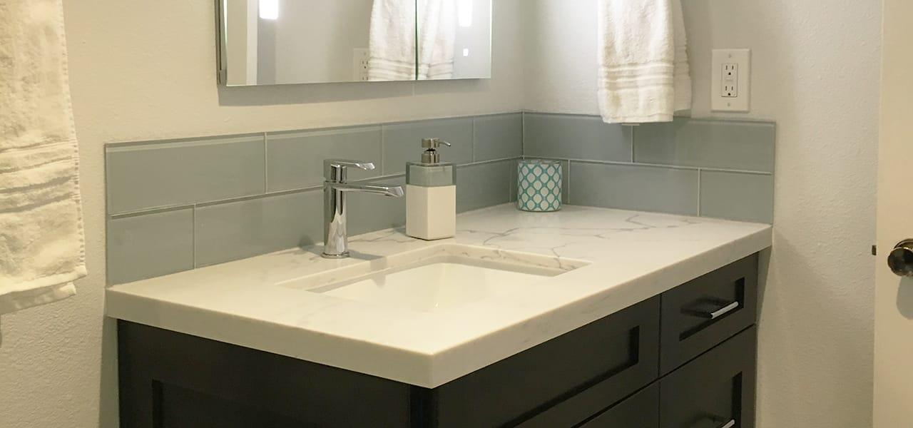 Bathroom Fixtures Upland Ca contemporary guest bathroom remodel in upland ca